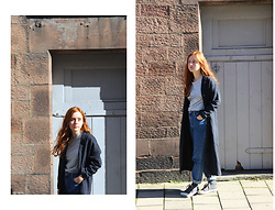Ellie Evelyn Orrell - H&M Boys Conscious T Shirt, Topshop Long Pinstripe Coat, Topshop Mom Jean, Spring Court Grey Pumps - Autumnal rays