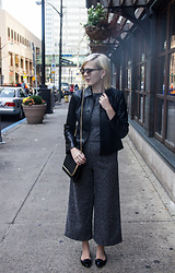 Bree Fesh - Ray Ban Rose Colored Sunglasses, Ann Taylor Black Leather Blazer, Stylewe Grey Jumpsuit, Sheinside Black Chain Mini Bag, Nine West Black Flats - Polished Professional