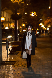 Minya L - Aritzia Jacket, Topshop Shirt Dress, Louis Vuitton Speedy, Stuart Weitzman Reserve, Oak+Fort Neck Bow - NIGHT WALK