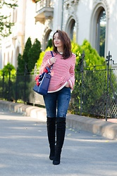 Cristina Feather - Tommy Hilfiger Sweater, Tommy Hilfiger Jeans, Versace 1969 Over The Knee Boots, Furla Bag, Vintage Scarf - Stripes sweater & Over the knee boots