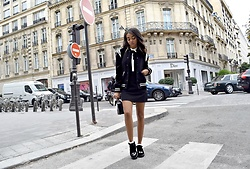 Daphne Blunt - Saint Laurent Classic Striped Varsity Bomber Jacket, Storets Bow And Peter Pan Collar Mini Dress, Chanel Velvet Cc Logo Platform Loafers, Asos Black And White Ruffle Frilly Socks - Parisian Gloom
