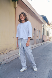 Enea Nastri - Zara Diy Sweater, Zara Palazzo Pants, Nike Airforce 1 - SHOELACE