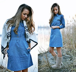 Cveti Dimitrova - Vintage Summer Fashion Denim Dress - NO RUSH