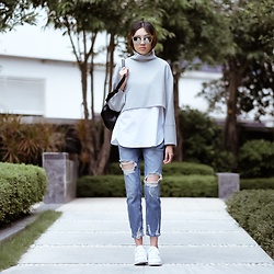 Kara C - Zara Layered Sweater, Adidas White Sneakers - Ready for Fall