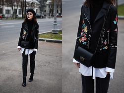 Andreea Birsan - Embroidered Pu Jacket, Black Turtleneck Sweater, Marina Cap, White Button Down Shirt, Black Crossbody Bag, Vintage Wash Mom Jeans, Leather Ankle Boots, Glitter Socks - The key benefit of getting an embroidered leather jacket