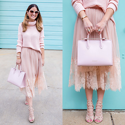 Jenn Lake - Asos Chunky Turtleneck Sweater, Asos Pink Lace Trim Tulle Skirt, Strathberry Pink Structured Satchel, Steve Madden Nude Slithur Sandals, Kate Spade Genice Sunglasses - Pink Lace Trim Tulle Skirt