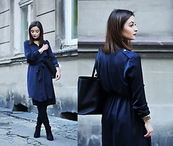 Barbara Kucharska - Stradivarius Choker, Zara Dress, Michael Kors Bag, Michael Kors Watch, Stradivarius Boots - Satin Dress