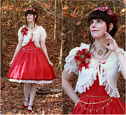 Tyler H - Vintage Sequin And Velvet Hat, Handmade Ivory Lace Cardigan, Handmade Red Rosette, Lotvdesigns Royal Crest Necklace, Lotvdesigns Gardland Of Roses Waist Chain, Handmade Red Lace Dress, Handmade Ivory Lace Underskirt, Dansko Red Suede Heels - Late Rose