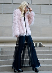 Dani Mikaela McGowan - Urban Outfitters Pink Faux Fur Jacket, Urban Outfitters Black Mesh Lace Dress, Free People Flared Jeans, Steve Madden Black Boots - Bye Bye Boring