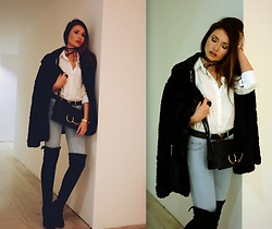 Porcelanna - Zaful Choker / Bar Layered Wrap Necklace, Gamiss Crossbody Bag, Defacto Faux Fur, H&M Shirt, Louis Vuitton Belt, Bershka Jeans, Stradivarius Overknees - Puss in Boots