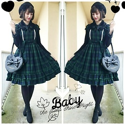 Yumi E.G. - Baby The Stars Shine Bright Tartan Op, Angelic Pretty Heart Bag - Green