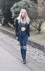 Laura Simon - Asos Black Leather, Calvin Klein Grey Black Crop Top, Urban Outfitters Blue Ripped Jeans, Asos Fishnet Tights, Lemare Black Gold Boots - Leather & Fishnet Tights