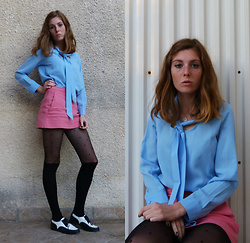 Laurielle Haze - Wholesale7 Baby Blue Blouse, Zara Pink Skorts - For Your Eyes Only