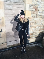Bec Oakes - Reason Ribbed Beanie, All Saints Leather Biker Jacket, Zara Velvet T Shirt, American Apparel High Waisted Jeans, River Island Cutout Boots - Black on Black