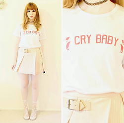 Rachel-Marie - Sheinside Tattoo Choker, Romwe White Cry Baby Letter Print T Shirt, Romwe Pink Pleated A Line Suede Skirt With Buckle, Off Brand Printed Glass Socks, Off Brand Glitter Jelly Sandals - Cry Baby