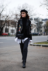 Andreea Birsan - Embroidered Leather Jacket, Black Turtleneck Sweater, White Button Down Shirt, Black Leather Crossbody Bag, Marina Cap, Vintage Wash Black Mom Jeans, Leather Pointed Toe Ankle Boots - The key benefit of getting an embroidered leather jacket II