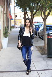 Kimberly Kong - Asos Frill Tank, Ann Taylor Faux Leather Jacket, Joe's Jeans Distressed Denim - Find of the Day:  The Frill Tank ($15.50)