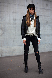 Mina T - Mango Ripped Denim, Diesel Biker Boots, Mango Belt, Vintage Knit, Diesel Shearling Leather Jacket, H&M Hat - Urban Boho