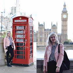 Elizabeth Claire - Zara Pink Leather Jacket, Macy's Striped Button Up, Bdg Black High Rise Jeans, Monki Black Platform Boots, Oaisis Leather And Suede Tote - Hit Play
