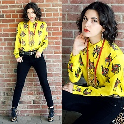 Lexi L - Stylewe Elephant Long Sleeve Blouse, 7 For All Mankind Black Skinny Jeans, Donald J. Pliner Cheetah Ankle Boots, Dresslily Beaded Earrings - If U C My Enemies