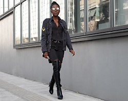 Rachel O. - Reiko Shirt Dress, Reiko Military Style Jacket, Han Kjobenhavn Sunglasses, Migato Leather Thigh High - Military Chic