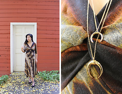 Dana Nguyen - Rabbit Midi Dress, Gap Lace Up Flats, Forever 21 Half Moon Necklace - Fall Vibes