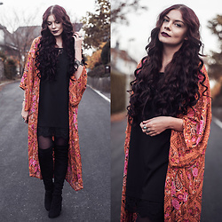 Selina K - Spell Designs Babushka Kimono In Amber, Lipsy Black Overknee Boots, Primark Black Lingerie Slip Dress - ROOM TO BREATHE