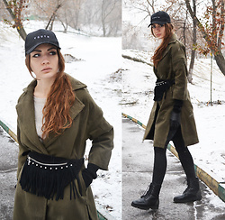Alexandra M. - Zaful Wrap Khaki Coat, New Yorker Tassel Bum Bag, Zaful Youth Baseball Cap - Youth