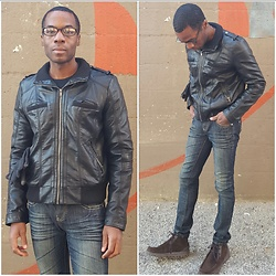 Thomas G - Xhilaration Faux Leather Jacket, Forever 21 Premium Denim, Skechers On The Go - Feeling Edgy