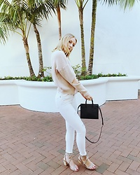 Katie Van Daalen Wetters - Rosegal Beige Sweater, Topshop White Jeans, Chinese Laundry Nude Sandals, Saint Laurent Sac De Jour Nano - Sweater Weather