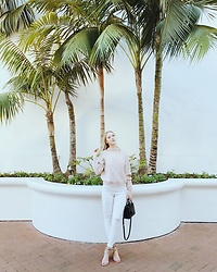 Katie Van Daalen Wetters - Rosegal Beige Sweater, Topshop White Denim, Chinese Laundry Nude Sandals, Saint Laurent Sac De Jour Nano - Santa Barbara Vibes
