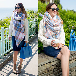 Jenn Lake - Asos Oversized Check Scarf, Asos Ivory Cable Knit Sweater, Saint Laurent Blue Sac De Jour Bag, Vince Camuto Feina Booties, Urban Outfitters Tortoise Sunglasses, Nordstrom Denim Pencil Skirt - Oversized Check Scarf