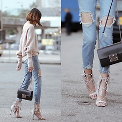 Kara C - Camelia Roma Crossbody Bag, H&M Off Shoulder Sweater, Nude Fringe Sandals - Falls Up and Down