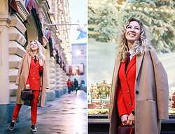 Margarita Maslova - M.O.N.K Red Suit, Rebecca Minkoff Bag, Stradivarius Camel Coat - Christmas red