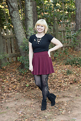 Jamie Rose - H&M Lace Up T Shirt, H&M Maroon Skater Skirt, Forever 21 Patterned Tights, Target Wedge Boots - Lace Up Top and Fun Tights
