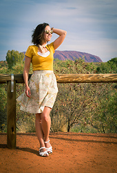 Lindsey Puls - Retrolicious Midi Skirt, Modcloth Top, Salt Water Sandals, Quay Sunglasses - The Outback Outfit