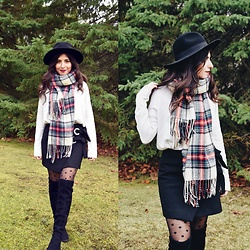 Karin Jurgens - Topshop Plaid Scarf, Zara Mini Skirt, Zara Brimmed Hat, Zara Knee High Boots - Plaid scarf and a hat