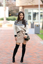 Kimberly Kong - Design History Printed Sweater, Metisu Khaki Mini Skirt, Stuart Weitzman Otk Boots - Find of the Day:  The Khaki Mini ($34.99)