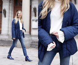 Gabrielle Lacasse - Weekday Quilted Jacket, H&M Sheer Blouse, Coach Blue Boots, Levis Wedgie Jeans - Blue Victorian inspired boots