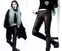Beatriz Mariano - Punk Rave Store Vintage Leather Pants With Awl Nail On Knee, The Church Of Sanctus Heavy Cotton Black Cardigan, Killstar Magi Pentagram Ring, Demonia Charade 100 - South Of Heaven