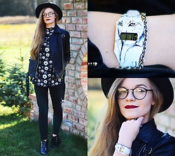 Karolina N. - Watch, Cropp Leather Jacket, Bershka Pants, Thrifted Shop Blouse, Sammydress Fedora Hat, Boots - DAISIES