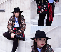 Jules - H&M Fedora Hat, KookaÏ Camouflage Jacket, Bershka Shirt, Michael Kors Biker Boots, Zara Bag, Tally Weijl Bandana, Calzedonia Tights, Primark Earrings - Winter Camouflage