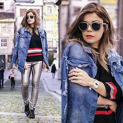Priscila Diniz - Propwood Stone And Wood Sunglasses, Papp Watch Paper, Denim Jacket, Striped Sweater, Metallic Pants - Metallic pants during the day, because yes!