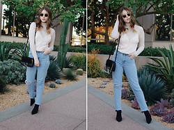 Taylor Smith - Zara Turtleneck, Luna B Silk Cami, Chloe Faye Bag, Topshop Jeans, Tony Bianco Sock Boots, Ray Ban Sunglasses - Wearing a Silk Cami in Winter