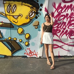 Beverly Tan - Runway Bandits White Skort, Bata Peach Slip On's - To me she's healed, don't attack