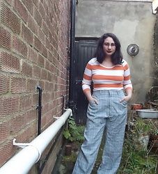 Selina M - Amazon Striped Top, Vintage Sale Checked Trousers - A kiss for luck and we're on our way