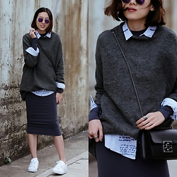 Kara C - Pull And Bear Oversized Sweater, H&M Fitted Dress, Adidas Superstar White Sneakers, Camelia Roma Crossbody Bag - Layers Layers