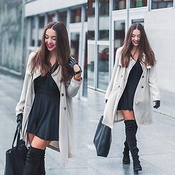 Gabriela Grębska - Deezee Boots, Napo Gloves, Medicine Bag, Dorothy Perkins Coat, Lorus Watch, Motel Dress - Overknee boots