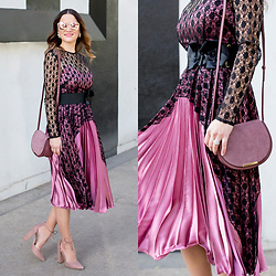 Jenn Lake - Asos Lace And Satin Pleated Midi Dress, Cuyana Mini Saddle Bag, Steve Madden Blush Suede Pamperd Pumps, Quay Cherry Bomb Sunglasses - Lace and Satin Pleated Midi Dress