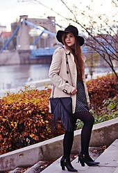 SIMPLY SOUL . - Cropp Hat, Stradivarius Trench Coat, Dresslily Dress, House Bag, Deezee Boots - A Girl In Black Hat